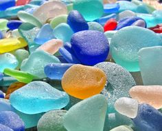 A sea of historic, Pacific Ocean sea glass pieces represents decades of collecting.  Blues, reds and yellows are all very rare to find.