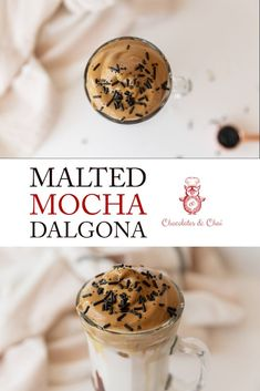 Malted Mocha Dalgona coffee is a new spin on the viral coffee recipe that uses chocolate syrup and malt powder to make something delicious, taste just a little more special! Iced Mocha, Mocha Coffee, Mocha Chocolate, Chocolate Syrup, Chocolate Recipes, Vegan Recipes Easy, Gourmet Recipes, Gourmet Foods, Delicious Recipes