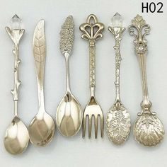 Royal Antique Tableware Set Vintage Cutlery Style Spoon Fork For Home Kitchen Vintage Cutlery, Flatware Set, Vintage Tableware, Small Tea, Dessert Spoons, Coffee Spoon, Silver Spoons, Silver Cutlery, Home Decor Accessories