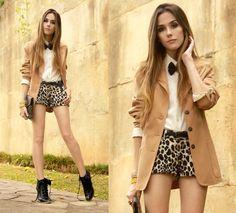 leopard shorts and boyfriend blazer