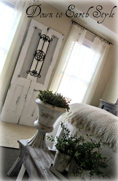Down to Earth Style: Romantic, Recycled... Love the simple decorating with an old door