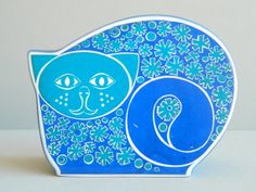 Carltonware Mod Psychedelic Groovy Blue Money Box by MonkiVintage, $90.00
