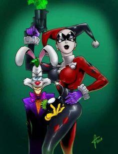 Roger Rabbit as Joker and Jessica Rabbit as Harley Quinn