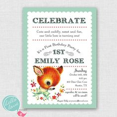 vintage baby animal first birthday printable invitation for girl. $16.00, via Etsy.