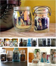 Use jars as easy picture frames.