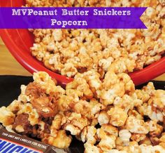 MVPeanut Butter Snickers Popcorn via thefrugalfoodiemama.com #tailgate #gameday