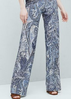 Printed flared trousers - Trousers for Woman | MANGO Netherlands