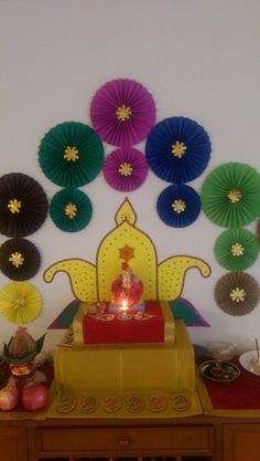 Ganesha decoration at us home Ganpati Decoration At Home, Diwali Decorations At Home, Festival Decorations, Flower Decorations, Paper Rosettes, Paper Flowers, Diy And Crafts, Crafts For Kids, Paper Crafts
