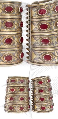 Pair of Turkmen cuff bracelets; silver, partially gilded, carnelian | ca. 1900 | 700€ ~ sold (Nov '15)