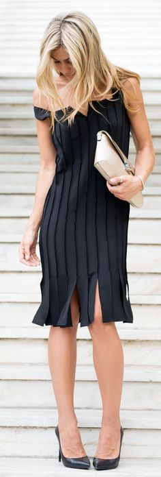 Black Pleated Little Black Dress by Twin Fashion