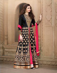 Black Banglori Silk Designer Anarkali Suit 70132