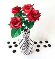 62 best small origami flower arrangements images on pinterest red origami roses in origami vase mightylinksfo