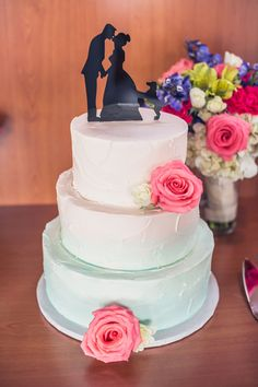 """Incorporate that """"something blue"""" with a blue ombre wedding cake! 