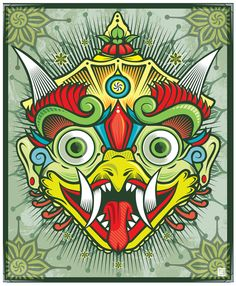 Hindu Garuda drawing converted to vector graphics in Illustrator.