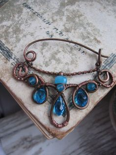 Shawl Pin -Scarf Sweater Pin - Sea Blue  - Artisan Copper  Shawl Pin - Wire Wrapped  Shawl Pin Brooch - Handmade Wire Wrapped Jewelry. $37.00, via Etsy.