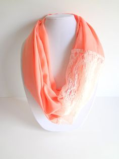 Lace Infinity Scarf. Peach Scarves. Spring by FashionelleStudio, $24.99