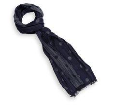 Echarpe bleu marine à gros pois bleus- Comptoir du Foulard 19€