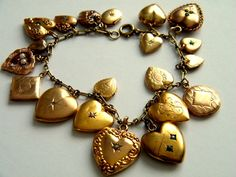 25.5 Grams 10K Gold Antique Victorian Charm Bracelet 10K Gold Ruby Seed Pearl Puffy Heart Locket Charms Bracelet 10K Gold Victorian Jewelry on Etsy, $2,000.00