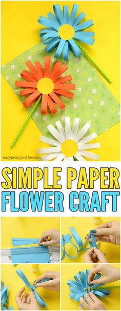Simple Paper Flower Craft for KIds #craftsforkids #activitiesforkids #papercrafts