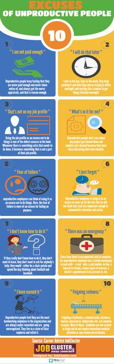 Top 10 Excuses Used By Extremely Unproductive People [INFOGRAPHIC]
