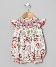 Loving this Pink Paisley Smocked Bubble Romper - Infant & Toddler on #zulily! #zulilyfinds