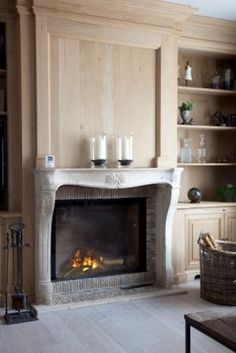 Antique fireplace and panelled walls Home Decor Kitchen, House, French Fireplace, Fireplace Bookshelves, Fireplace Design, New Homes, Indoor Fireplace, Fireplace Mantels, Fireplace