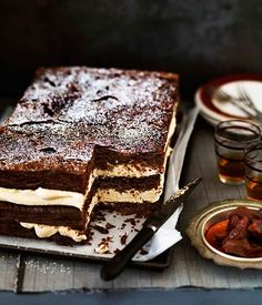It's time to break out the chocolate recipes. Sticky bitter chocolate doughnuts, a chocolate and pretzel slice, and chocolate millefeuille with burnt white chocolate cream are just some of what we've got waiting for you in our slideshow. Just Desserts, Delicious Desserts, Yummy Food, Sweet Recipes, Cake Recipes, Dessert Recipes, Do It Yourself Food, Chocolate Cream, Chocolate Cake
