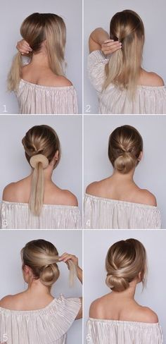 What's the Difference Between a Bun and a Chignon? - How to Do a Chignon Bun – Easy Chignon Hair Tutorial - The Trending Hairstyle Low Bun Tutorials, Braid Hair Tutorials, Hair Tutorials For Medium Hair, Makeup Tutorials, Medium Hair Styles, Curly Hair Styles, Hair Medium, Hair Styles Work, Hair Donut Styles