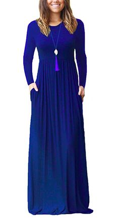 WmcyWell 2017 Fashion Women Long Sleeve Solid Loose Plain Maxi Dresses Casual Long Dresses With Pockets Robe Vestidos Maxi Dress With Sleeves, The Dress, Short Sleeve Dresses, Long Dresses, Long Sleeve, Dress Long, Dresses Dresses, Jersey Maxi Dresses, Beach Dresses