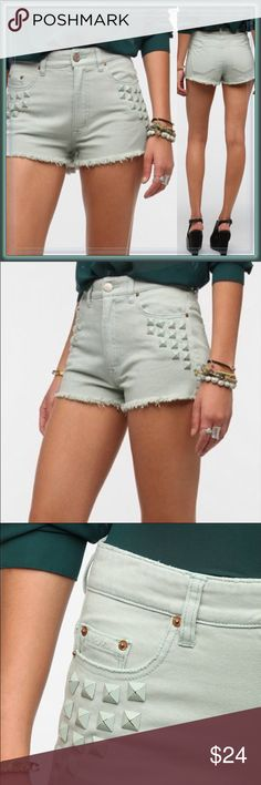 Urban Outfitters high waisted shorts ➖SIZE: 5/6  ➖BRAND: bdg via Urban Outfitters  ➖STYLE: High Waisted Cut off mint green shorts that have studs by the pockets! Urban Outfitters Shorts