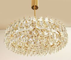 Stunning Crystal Glass Gold Chandelier BAKALOWITS & SONS,  Austria, 60s Gold Chandelier, Chandeliers, Faceted Crystal, Beautiful Bedrooms, Austria, Master Bedroom, Ceiling Lights, Crystals, Lighting