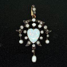 Art Nouveau Sterling & 14kt Opal, Pearl & Diamond Heart Pendant