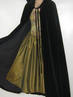 Steampunk - LAURA ASHLEY Vintage Wales Dyers&Printers Black Velvet Cloak/Cape One Size by VintageLauraAshley