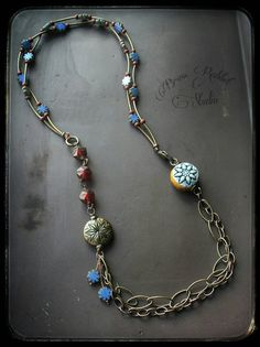 Vintage style beaded necklace The Old Days by BrassRabbitStudio
