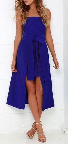 Cameo Wake Me Cobalt Blue Strapless Midi Dress