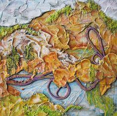 """Patagonia Trails""  Mixed Media 12x12"