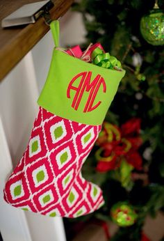These high quality Christmas stockings are the perfect addition to your home this Christmas! We have 3 style options available: Red/White polka dot, red/white/green Aztec and green stripe. These stockings are boutique quality and will come with either a monogram or name of your choice on the cuff!  Please leave the following at checkout:  Style Thread Color Font Style If monogram is left- please list in the order in which you want to appear on the stocking: (Ex: Jane M Doe- JD...