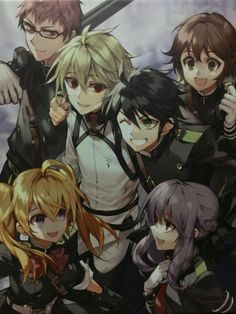 Owari no Seraph: Shiho Kimizuki, Yoichi Saotome, Mikaela Hyakuya, Yuuichiro Hyakuya, Shinoa Hiiragi, Mitsuba Sanguu.