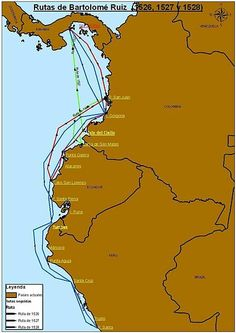 (Rutas): BartolomeRuiz, uno de los 'Trece de la Fama' que acompañaron a Pizarro en la conquista del Perú.