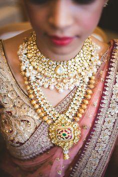 Wedding lehenga styled with polki studded pearl drop choker and jadau raani haar. | weddingz.in | India's Largest Wedding company | Indian Bridal Jewellery Inspiration | Indian Wedding Jewellery |