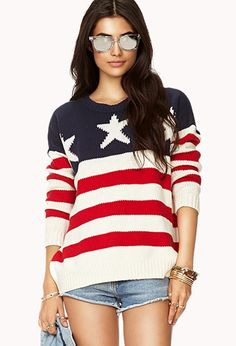 #ForeverHoliday | Yes, I would wear this in a heartbeat. | Oversized American Flag Sweater | FOREVER21 - 2000050386