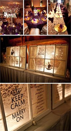The old window seating chart--gorgeous w/the lace and the light shining through behind it!