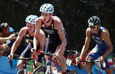 Alistair Brownlee and Jonathan Brownlee of Great Britain compete during the Men's Triathlon at Fort Copacabana on Day 13 of the 2016 Rio Olympic Games on August 18, 2016 in Rio de Janeiro, Brazil.