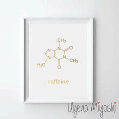 Caffeine Molecule Gold Foil Print Gold Print by UyenoMiyoshi