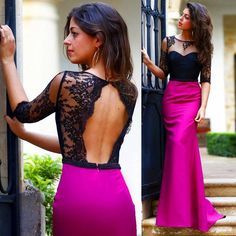 Image result for dark pink dress 2017