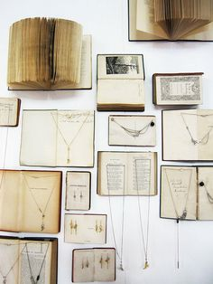 Book display for jewellery, I like this but couldn't damage books to do it