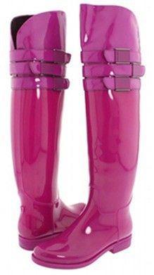 pink over the knee rainboots