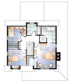 Second Floor Plan of Country   House Plan 65106