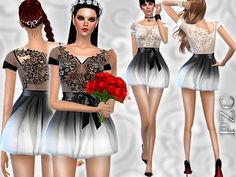 The Sims Resource: Ombre Lace Mini Dress by Pinkzombiecupcake • Sims 4 Downloads
