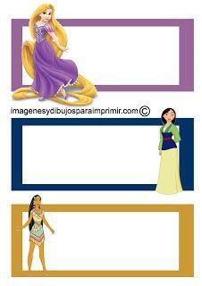 Etiquetas cuadernos princesas disney para imprimir-Imagenes y dibujos para imprimir                                                                                                                                                                                 Más